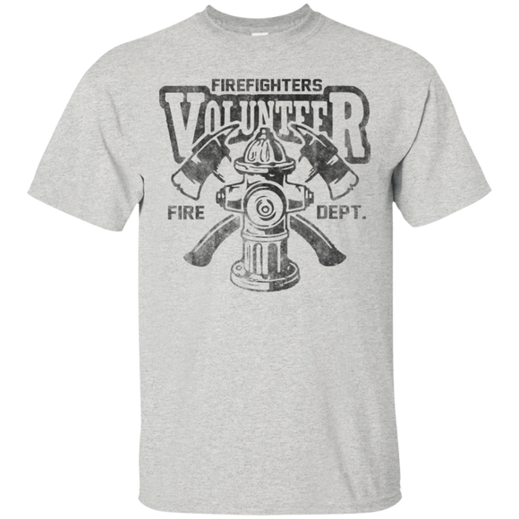 Volunteer Firefighter t shirt mockup - Style G200 Gildan Ultra Cotton T-Shirt - Color Ash