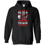Being A Fire Man t shirt mockup - Style G185 Gildan Pullover Hoodie 8 oz. - Color Black