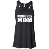 Wing Chun Mom t shirt mockup - Style Bella+Canvas Flowy Racerback Tank - Color Black