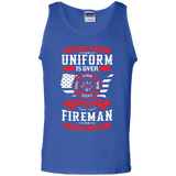 Being A Fire Man t shirt mockup - Style G220 Gildan 100% Cotton Tank Top - Color Royal
