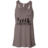 Duck Hunting Evolution t shirt mockup - Style B8800 Bella + Canvas Flowy Racerback Tank - Color Pebble Brown