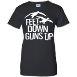 Feet Down Guns Up - Duck Hunting t shirt mockup - Style G200L Gildan Ladies' 100% Cotton T-Shirt - Color Black