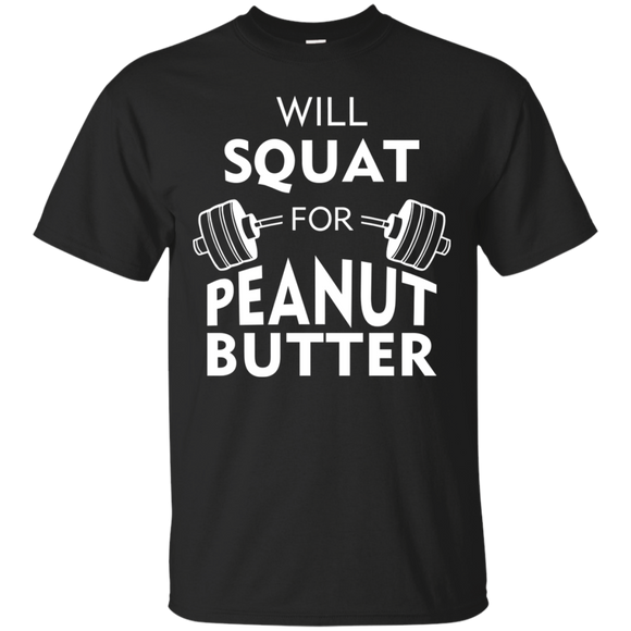 Will Squat For Peanut Butter t shirt mockup - Style G200 Gildan Ultra Cotton T-Shirt - Color Black