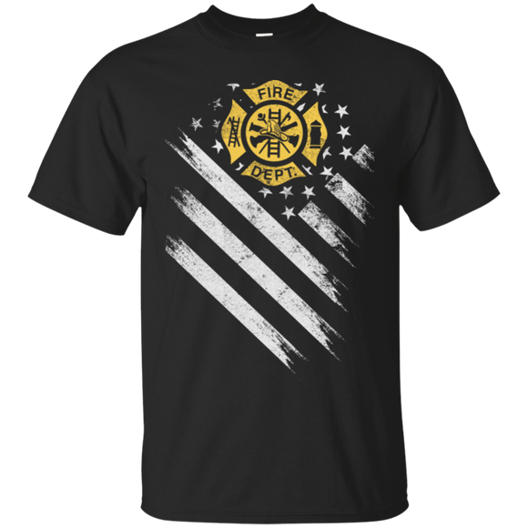 American Firefighter Department Flag t shirt mockup - Style G200 Gildan Ultra Cotton T-Shirt - Color Black