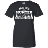 Never Mess With A Hunter t shirt mockup - Style G200L Gildan Ladies' 100% Cotton T-Shirt - Color Black