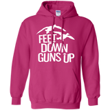 Feet Down Guns Up - Duck Hunting t shirt mockup - Style G185 Gildan Pullover Hoodie 8 oz. - Color Heliconia