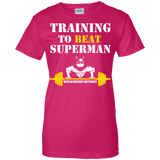 Training To Beat Superman t shirt mockup - Style G200L Gildan Ladies' 100% Cotton T-Shirt - Color Heliconia