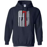 Firefighter Axe US Flag t shirt mockup - Style G185 Gildan Pullover Hoodie 8 oz. - Color Navy