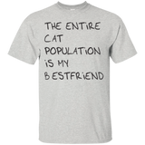 The entire cat population is my best friend t shirt mockup - Style G200 Gildan Ultra Cotton T-Shirt - Color Ash
