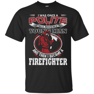 I Became A Firefighter t shirt mockup - Style G200 Gildan Ultra Cotton T-Shirt - Color Black