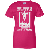 I Workout To Add Life To My Days t shirt mockup - Style G200L Gildan Ladies' 100% Cotton T-Shirt - Color Heliconia
