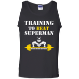 Training To Beat Superman t shirt mockup - Style G220 Gildan 100% Cotton Tank Top - Color Black