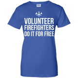Volunteer Firefighters - Do It For Free t shirt mockup - Style G200L Gildan Ladies' 100% Cotton T-Shirt - Color Royal