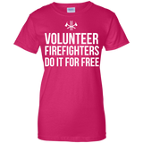 Volunteer Firefighters - Do It For Free t shirt mockup - Style G200L Gildan Ladies' 100% Cotton T-Shirt - Color Heliconia