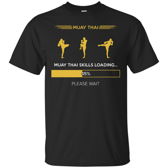 Muay Thai Skills Loading t shirt mockup - Style Custom Ultra Cotton T-Shirt - Color Black