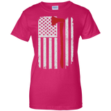 Firefighter Axe US Flag t shirt mockup - Style G200L Gildan Ladies' 100% Cotton T-Shirt - Color Heliconia