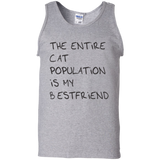 The entire cat population is my best friend t shirt mockup - Style G220 Gildan 100% Cotton Tank Top - Color Sport Grey