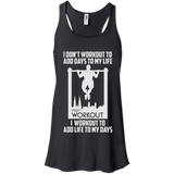 I Workout To Add Life To My Days t shirt mockup - Style B8800 Bella + Canvas Flowy Racerback Tank - Color Black