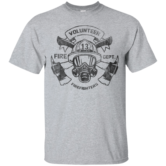 Volunteer Firefighter t shirt mockup - Style G200 Gildan Ultra Cotton T-Shirt - Color Sport Grey