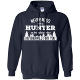 Never Mess With A Hunter t shirt mockup - Style G185 Gildan Pullover Hoodie 8 oz. - Color Navy