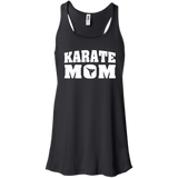 Karate Mom t shirt mockup - Style Bella+Canvas Flowy Racerback Tank - Color Black
