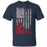 Duck Hunting US Flag t shirt mockup - Style G200 Gildan Ultra Cotton T-Shirt - Color Navy