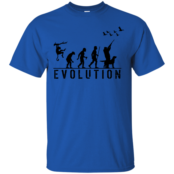 Duck Hunting Evolution t shirt mockup - Style G200 Gildan Ultra Cotton T-Shirt - Color Royal