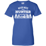 Never Mess With A Hunter t shirt mockup - Style G200L Gildan Ladies' 100% Cotton T-Shirt - Color Royal