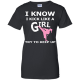 Karate Girl t shirt mockup - Style Ladies Custom 100% Cotton T-Shirt - Color Black