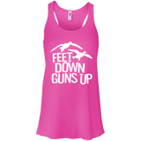 Feet Down Guns Up - Duck Hunting t shirt mockup - Style B8800 Bella + Canvas Flowy Racerback Tank - Color Neon Pink
