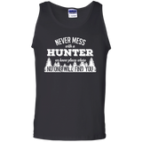Never Mess With A Hunter t shirt mockup - Style G220 Gildan 100% Cotton Tank Top - Color Black