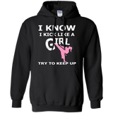Karate Girl t shirt mockup - Style Pullover Hoodie 8 oz - Color Black