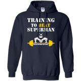 Training To Beat Superman t shirt mockup - Style G185 Gildan Pullover Hoodie 8 oz. - Color Navy