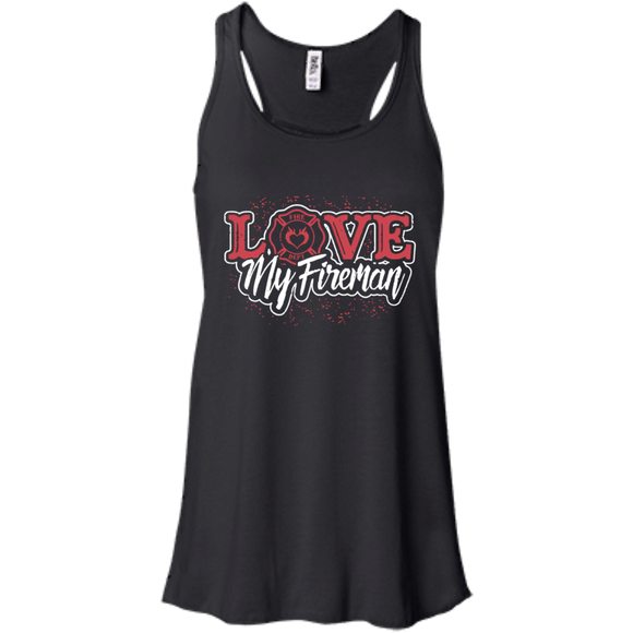 Love My Fireman t shirt mockup - Style B8800 Bella + Canvas Flowy Racerback Tank - Color Black