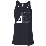 Yoga t shirt mockup - Style Bella+Canvas Flowy Racerback Tank - Color Midnight