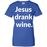 Jesus Drank Wine t shirt mockup - Style G200L Gildan Ladies' 100% Cotton T-Shirt - Color Royal