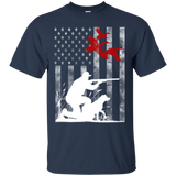 Duck Hunting USA Flag t shirt mockup - Style G200 Gildan Ultra Cotton T-Shirt - Color Navy