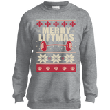 Merry Liftmas - Workout Ugly Christmas Sweater t shirt mockup - Style PC90Y Port and Co. Youth Crewneck Sweatshirt - Color Athletic Heather