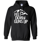 Feet Down Guns Up - Duck Hunting t shirt mockup - Style G185 Gildan Pullover Hoodie 8 oz. - Color Black