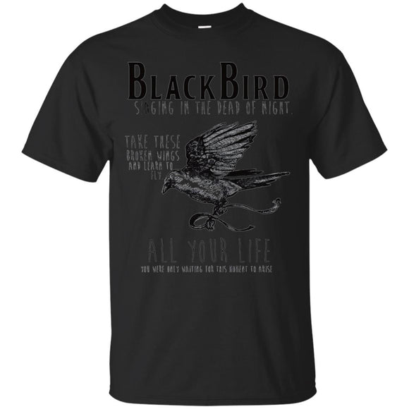 The Beatles, Blackbird Lyrics t shirt mockup - Style G200 Gildan Ultra Cotton T-Shirt - Color Black