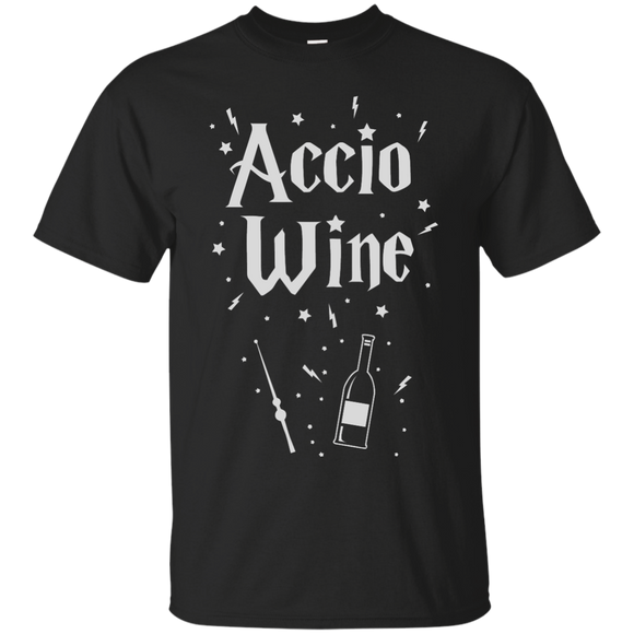 Accio Wine t shirt mockup - Style G200 Gildan Ultra Cotton T-Shirt - Color Black