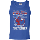 I Became A Firefighter t shirt mockup - Style G220 Gildan 100% Cotton Tank Top - Color Royal