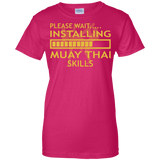 Installing Muay Thai Skills t shirt mockup - Style Ladies Custom 100% Cotton T-Shirt - Color Heliconia