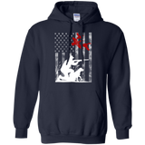 Duck Hunting USA Flag t shirt mockup - Style G185 Gildan Pullover Hoodie 8 oz. - Color Navy