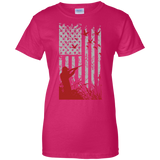 Duck Hunting US Flag t shirt mockup - Style G200L Gildan Ladies' 100% Cotton T-Shirt - Color Heliconia