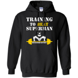 Training To Beat Superman t shirt mockup - Style G185 Gildan Pullover Hoodie 8 oz. - Color Black