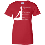 Yoga t shirt mockup - Style Ladies Custom 100% Cotton T-Shirt - Color Red