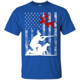 Duck Hunting USA Flag t shirt mockup - Style G200 Gildan Ultra Cotton T-Shirt - Color Royal