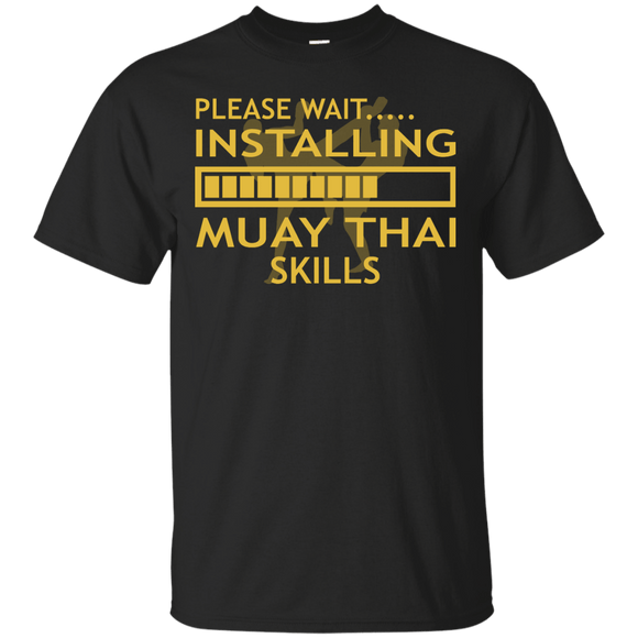 Installing Muay Thai Skills t shirt mockup - Style Custom Ultra Cotton T-Shirt - Color Black