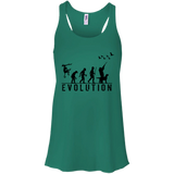 Duck Hunting Evolution t shirt mockup - Style B8800 Bella + Canvas Flowy Racerback Tank - Color Kelly